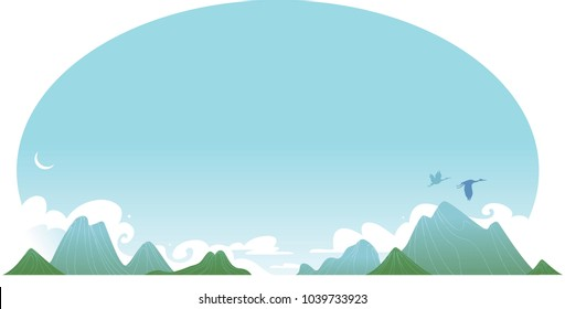 Abstract mountain landscape in traditional asian style