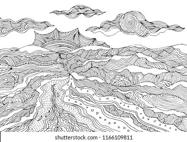 abstract mountain landscape vector hand drawing doodle sketch design illustration