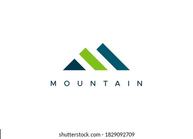 Abstract Mountain Logo. Blue and Green Geometric Shape Initial Letter M isolated on White Background. Usable for Business and Branding Logos. Flat Vector Logo Design Template Element.