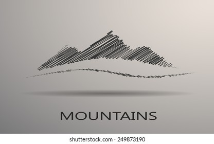 Abstract mountain logo on a gray background