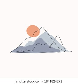 Abstract mountain range landscape, flat scenery background. Blue mountains panoramic view. Simple one line nature illustration. Vector sunset wallpaper for icon, logo