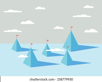 Abstract mountains backgrounds with flags on tops. Business concept of success, goals, objectives, targets. Eps10 vector illustration