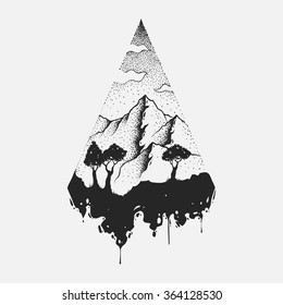Abstract the mountains. Hand draw