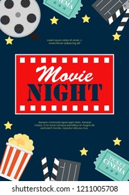 Abstract Movie Night Cinema Flat Background with Reel, Old Style Ticket, Big Pop Corn and Clapper Symbol Icons. Vector Illustration EPS10