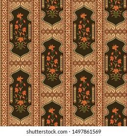 abstract Mughal motif border pattern design