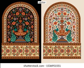 abstract mughal motif bunch with border background design