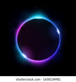 Abstract Multicolor Eclipse, isolated on Dark Background. Vector Illustration
