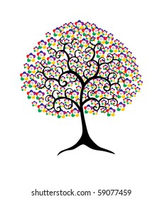 abstract multicolor floral tree, symbol of nature