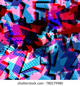 Abstract multicolor seamless chaotic pattern with urban geometric elements. Texture pattern for covers, banners, booklets, etc. For web or printed media.