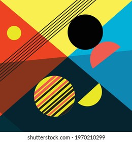 Abstract multi-colored background of geometric objects. An example of an unusual abstraction from different geometric shapes for a website or poster design