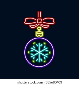 Abstract multicolored Christmas ball on black background. Vector eps10 illustration art