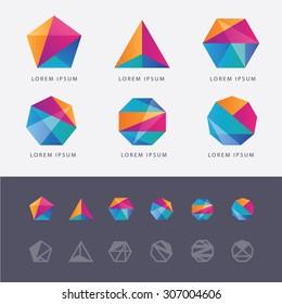 Abstract multicolored geometric polygon shape logo design marks