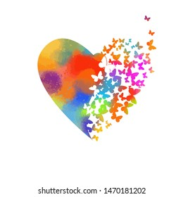 Abstract multicolored heart of butterflies. Happy Valentine's Day. Vector illustration