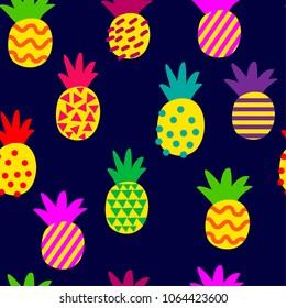 Abstract multicolored pattern with pineapple on a dark background. Red pineapples for fabrics, textiles, clothes, wallpaper, wrapping paper, backpack, socks, bedding.