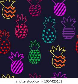 Abstract multicolored pattern with pineapple on a dark background. Razny silhouette pineapples for fabric, textiles, clothing, wallpaper, wrapping paper, backpack, socks, bedding.