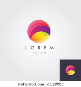 abstract multicolored  round circle letter o logo element icon for business visual identity