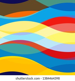 Abstract multicolored vector background with wavy elements