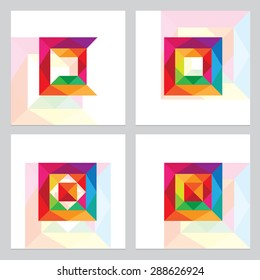 abstract multicolored vibrant cube squares logo elements constructed from multiple triangles in spectrum colors
