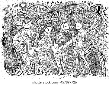Abstract Music Background ,band musicians,Collage with musical instruments.Hand drawing Doodle,vector illustration.