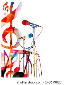Abstract music background with microphones