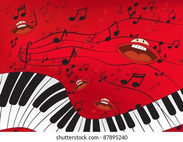 Abstract music background with a piano and singing mouths