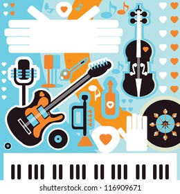 Abstract Music Background - vector illustration. Collage with musical instruments hearts and text space