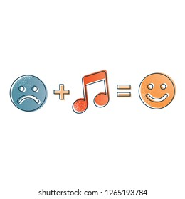 Abstract music formula. Sadness plus music equal happiness. Vintage or retro style unusual illustration design with smile icons.