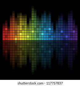 Abstract music inspired graphic equalizer background with rainbow colours. Vector illustration.