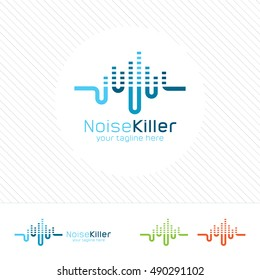 Abstract music logo design vector. Clean and modern concept of equalizer .