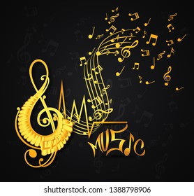 Abstract music notes on line wave  musical notation.Black notes symbols.- Vector