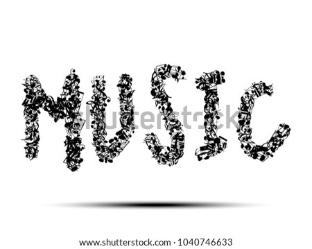 Abstract Music Notes On Music Text Stock Vector Royalty Free