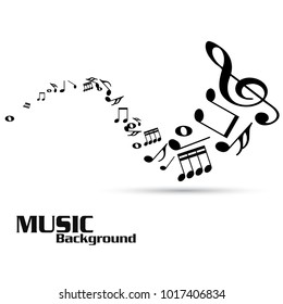 Abstract music notes on white background. Black G-clef and music notes isolated vector illustration Can be adapt to Brochure, Annual Report, Magazine, Poster, Corporate Presentation,