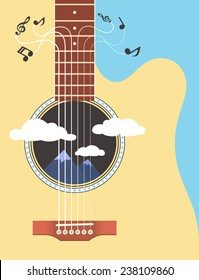 abstract music poster. mountains and clouds seen through a guitar deck