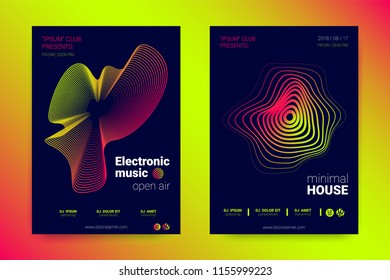 Abstract Music Wave Flyer. Poster with Distortion of Lines, Circles and Gradient for Night Party Invitation. Abstract Covers with Wavy Stripes in Minimal Style. Vector Abstract Illustration Eps10.