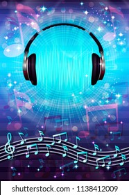 Abstract musical background with random notes on the musical staff, headphones and retro vinyl record. Vector illustration.