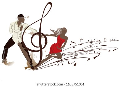 Abstract musical background with a romantic couple in passionate Latin American dances and a treble clef. Salsa festival. Hand drawn poster background.