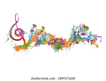 Abstract musical design with a treble clef and colorful splashes, notes and waves. Colorful treble clef. Hand drawn vector illustration.