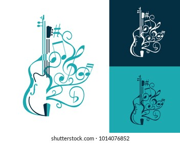 abstract musical sign with double bass, guitar lines, swirls and notes, g clef. vector