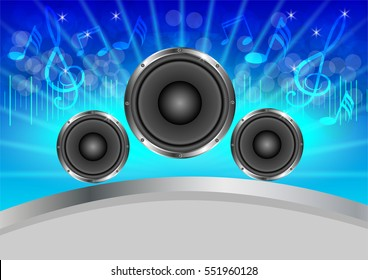Abstract musical with speakers Blue background