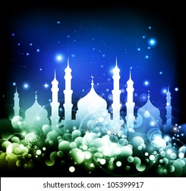 abstract muslim religion background with a mosque - vector illustration