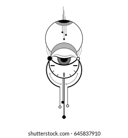 Abstract mystic sign with geometric shapes, line, circle, clock, eye and time symbol, time of life, vector illustration of minimal tattoo graphic.
