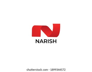 Abstract N letter initial modern logo design template