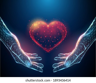 Abstract nands holding red heart.  Low poly style design. Abstract geometric background. Wireframe light connection structure. Modern 3d graphic concept. Isolated vector illustration.