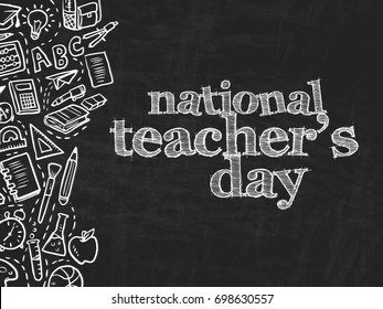 Abstract for National Teacher's Day with nice and creative design illustration in a background.