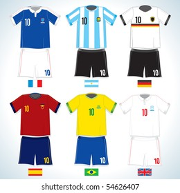 Abstract nationals football uniform:Brazil, German,  Argentina, Spain, England, France-vector image with easy editable colors-to see more similar images, please visit my Gallery