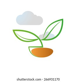 Abstract natural icon on a white background. Vector Illustration
