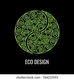 Abstract natural Linear logo. Green symbol Yin Yang on black background. Vector sign for eco design. Alternative, Chinese medicine and wellness, zen meditation.