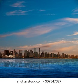 abstract nature background with blue sky and panorama of Vancouver