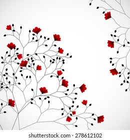 Abstract nature background with red flowers.