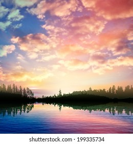 abstract nature background with sunrise on forest lake and pink clouds